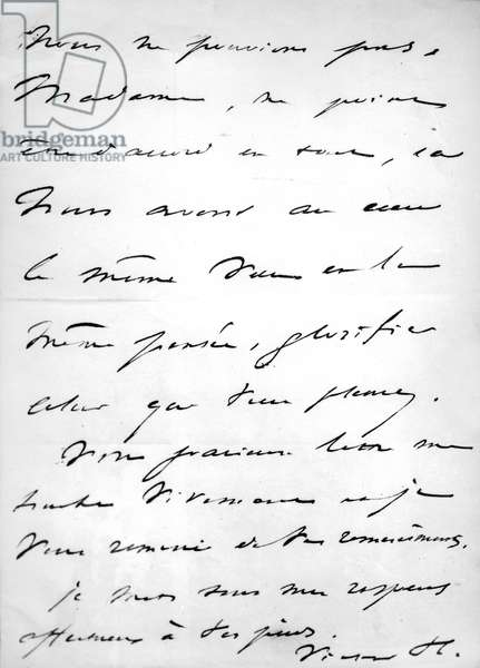 Handwritten letter by Victor Hugo with his signature (Victor H)
