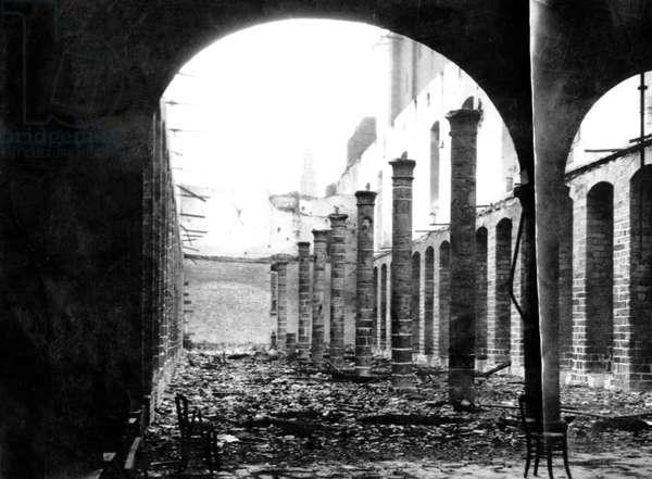 Ruins of the historic market halls of Ypres, Belgium, 1915