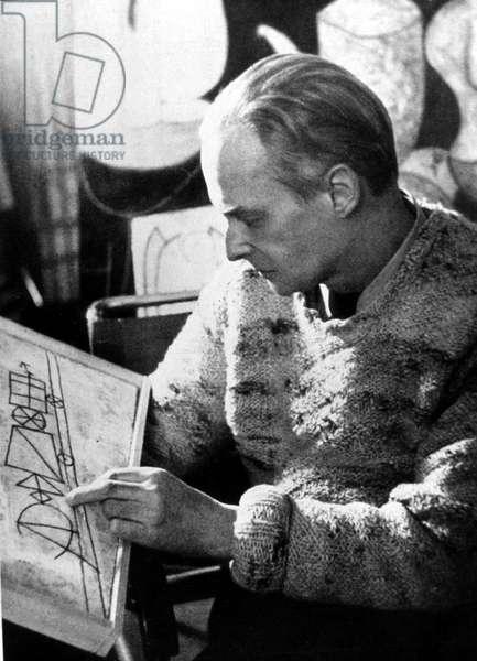 Swiss painter Paul Klee (1879-1940) here in december 1939 in Bern (b/w photo)