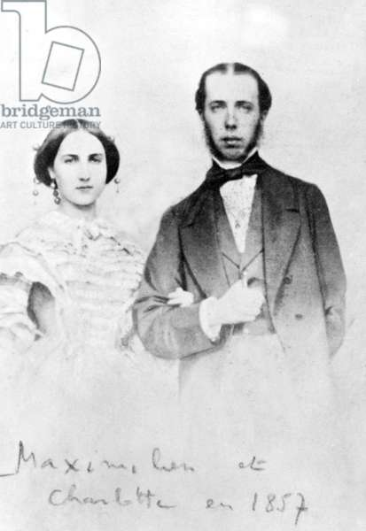 Maximilian 1st (1832-1867) archduke of Austria, emperor of Mexico in 1964-1867, here in 1857 with his wife Charlotte (1840-1927), born princess of Belgium