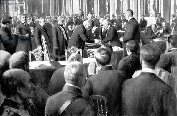 French delegation signing Peace Treaty in Versailles , France , june 28, 1919 : Georges Clemenceau, Stephen Pichon, Louis Lucien, Klotz, Andre Tardieu