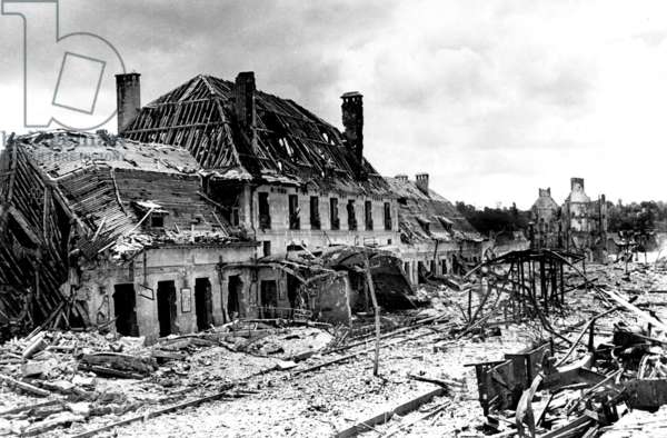 View of the ruins of railway warehouse Saint Lo (Normandy) after american bombings during german occupation of the city, late july 1944