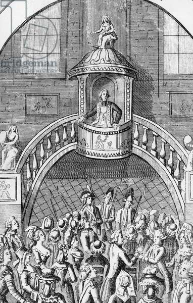 French priest refusing take the oath and pledge allegiance to the French revolution and to the civil constitution of clergy january 1791, engraving