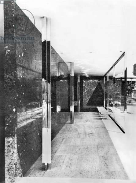 the Germany pavilion, by architect Ludwig Mies Van der Rohe (Bauhaus), at the international exhibition in Barcelona in 1929