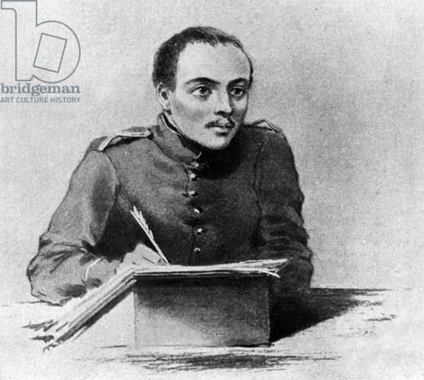 Russian writer and poet Mikhail Yurevich Lermontov (1814-1841) drawing