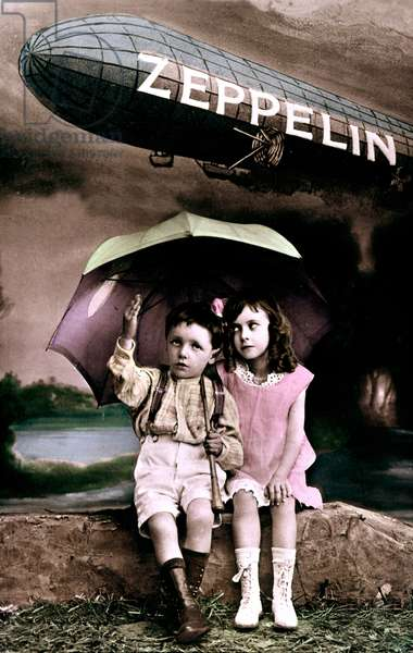 Children protecting themselves with an umbrella from a bombing by a german zeppelin, ww1, postcard