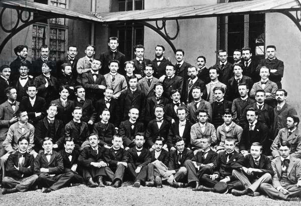 Henri Bergson (1859-1941) French philosopher (2nd row from top, on l) here when he was teacher at secondary school, Paris, 1890-1898