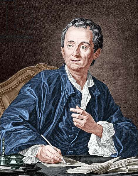 Denis Diderot (1713-1784) French encyclopedist and philosopher, engraving after Van Loo colourized document