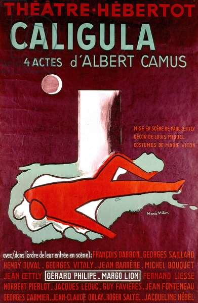 poster for play Caligula by Albert Camus, presented in Paris , featuring Gerard Philipe and Margo Lion in 1945