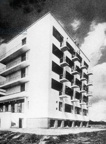 House of students at Bauhaus school in Dessau (Germany) built by Walter Gropius,1925 - 1926