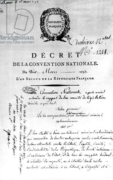 decree of national convention march 10, 1793 at the time of French Revolution