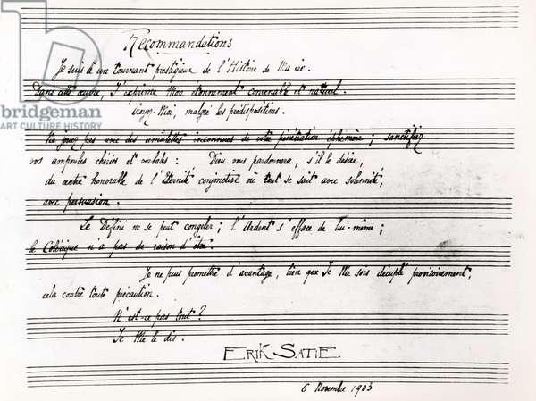 Erik Satie (1866-1925) French composer : poem on a score, november 6, 1903