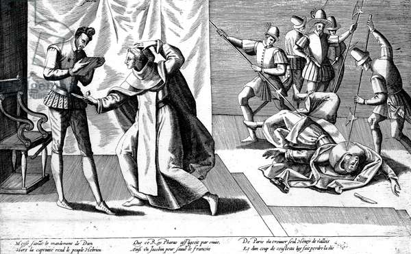 Murder of French king Henri III by monk Jacques Clement member of the Catholic League, on august 1st, 1589, in St Cloud, engraving