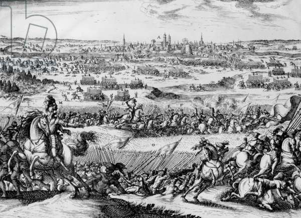 Bouvines battle on july 27, 1214 won by French king Philippe Auguste on german emperor Otto IV, engraving
