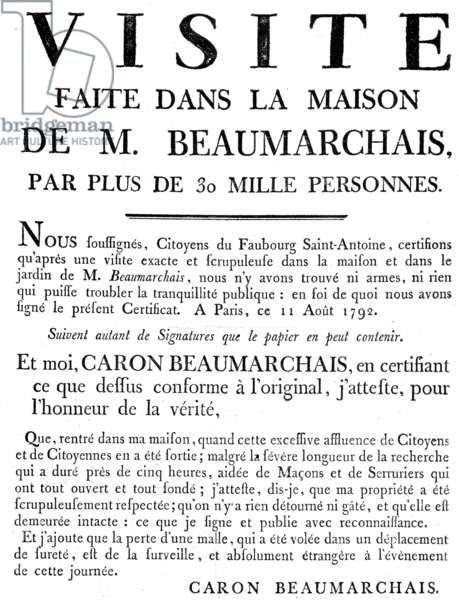 certificate of the control visit of Beaumarchais' house in Paris by revolutionary citizens on august 11, 1792 (he was suspected of conspiration and arm trade)