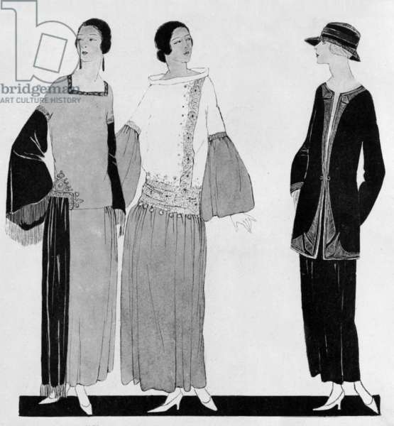 Paul Poiret fashion, 1922 : on l : dresses for afternoon with large sleeves, on r : black suit, drawing