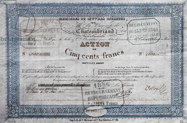 share of 500 francs delivered in may 1836 by society of memories and works of Chateaubriand