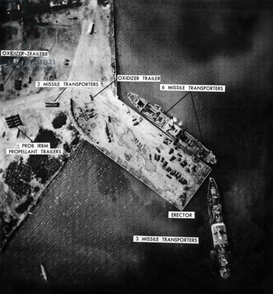 Aerial View of Mariel harbour in Cuba on november 5, 1962 showing missiles transporters, erectors (cuban missile crisis)