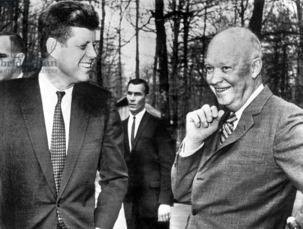 Presidents Dwight Eisenhower and John Kennedy meet after the failed Bay of Pigs invasion. Camp David, Maryland. April 22, 1961 photo NARA