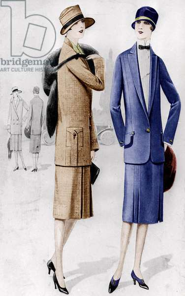 Woman fashion : model of suit 1926, drawing