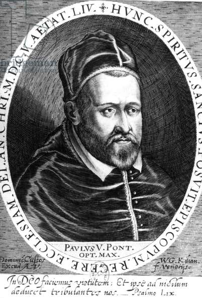 Camille Borghese (1552-1621) pope under name of Paul V in 1605-1621, engraving