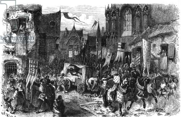 Arrival of French king Philippe II Auguste (1165-1223) in Paris after Bouvines battle in 124, engraving by Dupeyron (19thcentury)
