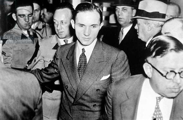 Lindbergh affair : Bruno Richard Hauptmann, accused of being the kidnapper and murderer of Ann Morrow and Charles Lindbergh's son, here during trial 1935
