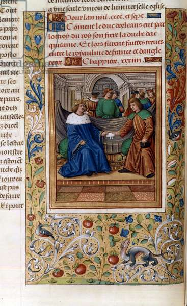 Charles VI and Henry V signing the 'Treaty of Troyes' in 1420, illustration from the 'Chroniques de Monstrelet' (vellum)