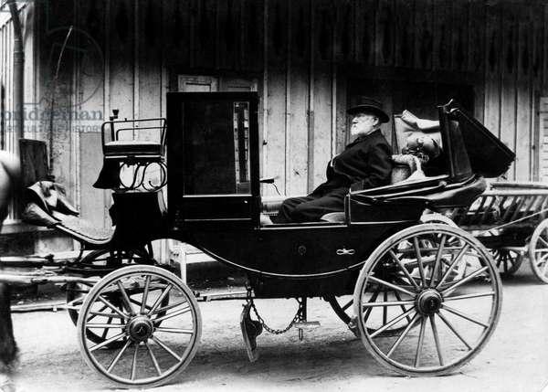 French writer Victor Hugo in calash in Ragaz (Switzerland) summer 1884
