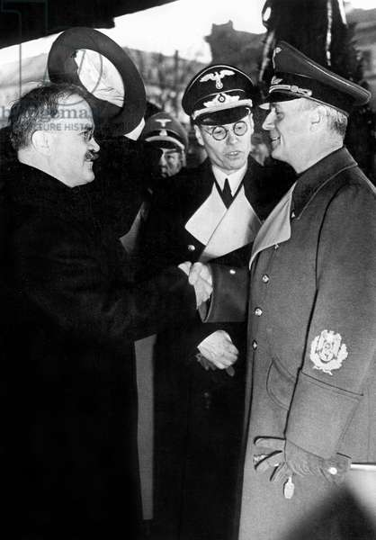 The Molotov-Ribbentrop non-aggression pact (or german-soviet pact), signed august 23, 1939 between german minister of foreign affairs Joachim von, here in Anhalt station