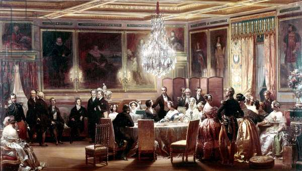 Reception in honor of Queen Victoria and Prince Albert at the Chateau d'Eu on September 3, 1843, painting by Eugene Louis Lami (1800-1890) 1845 (oil on canvas)