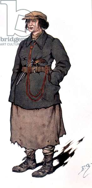 woman agent of the Tcheka (soviet police), drawing by Zvorykine c. 1922