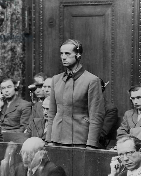 Doctors' Trial, Nuremberg, 1946 - 1947 : Karl Brandt, AdolfHitler's doctor, one of the 23 nazi doctors, he will be condemned to death, photo NARA