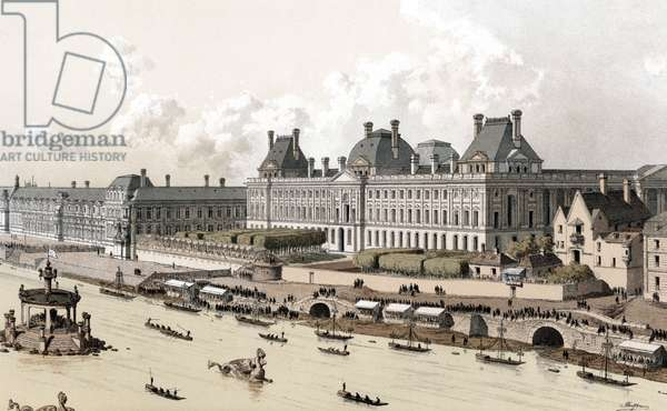 Vie of the Louvre Palace in Paris at the time of LouisXV, during the party offered by Paris city to the king for the wedding of his daughter princess Elizabeth of France with prince Philip Infante of Spain august 29, 1739, engraving
