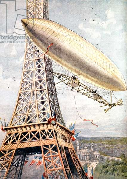 July 28, 1901 : experiment of Brazilian aviator Alberto Santos-Dumont with his balloon around the Eiffel Tower in Paris, illustration from newspaper