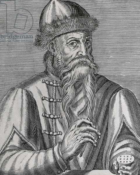 Johann Gutenberg (c.1397-1468) german inventor of the printing press, flemish engraving, 1695