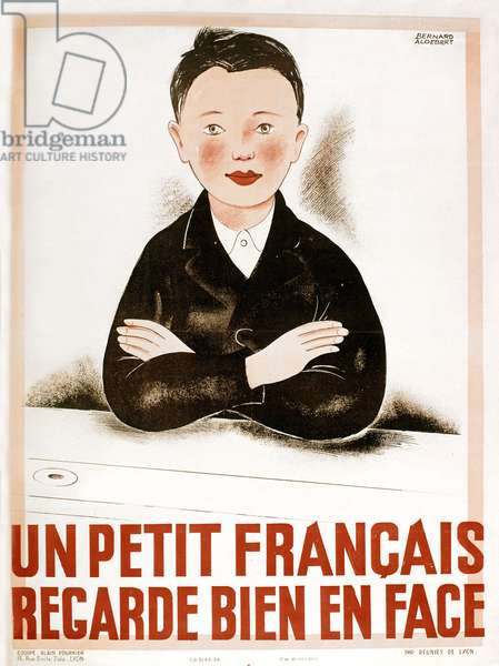 French propaganda poster of the government of Vichy : a young French boy is looking in the face, ww2