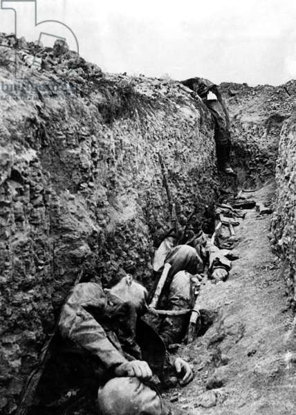 corpses of german soldiers in the trench on the front in Champagne area in 1915 France