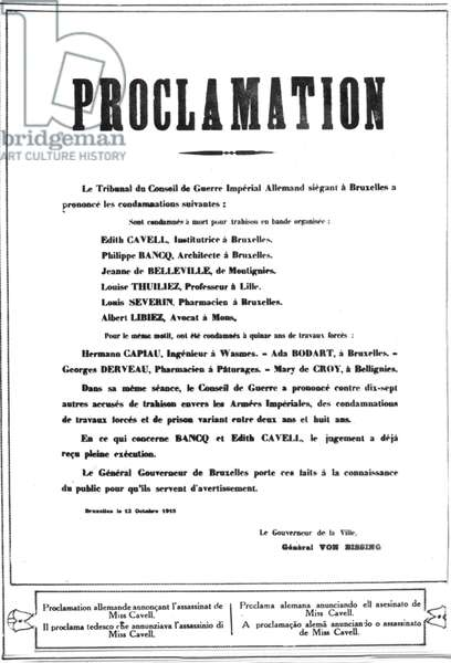 Announcement of execution of Edith Cavell , Philippe Bancq, Jeanne de Belleville, Louise Thuiliez, Louis Severin and Albert Libiez , and hard labour sentence for Hermann Capiau, Ada Bodart, Georges Derveau and Mary de Croy , Brussels october 12, 1915 - femme heroique heroic woman
