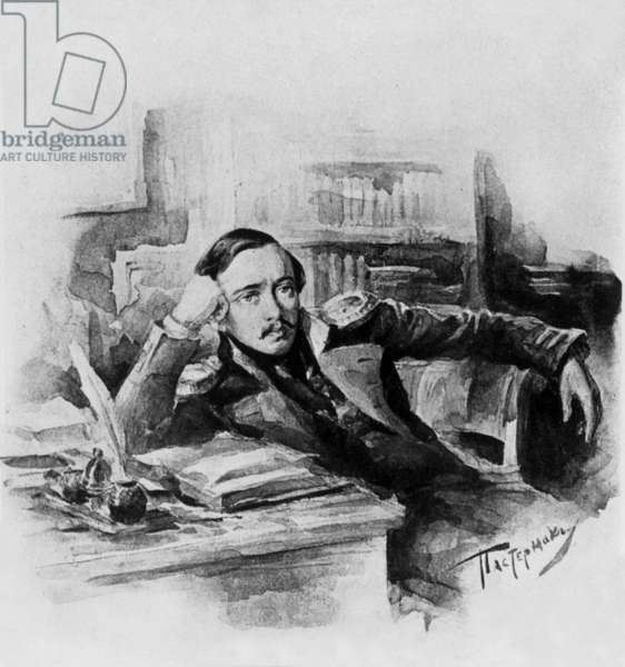 Russian writer and poet Mikhail Yurevich Lermontov (1814-1841) watercolor