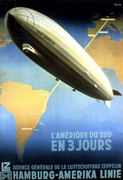 Ad poster for airship Zeppelin for trip from Germany to South America in 3 days