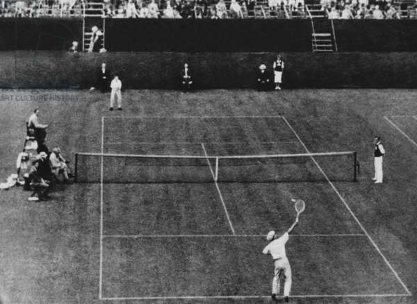 Rene Lacoste serve against William Johnston and win in 8 sets. France win Davis Cup in 1927