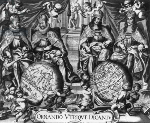 Allegory with Rudolf II (1552-1612) Holy Roman Emperor and his successors Matthias 1st (1557-1619), Ferdinand II (1578-1637) and Ferdinand III (1608-1657) (engraving)