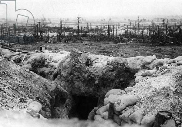 entrance of shelter in german trench on on the front in Champagne area in 1915 France