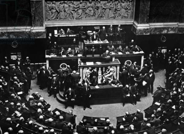 Georges Clemenceau, head of French state and minister of war, speaking at French National Assembly in Paris on june 30, 1919 (government bill about approval of Versailles peace treaty)