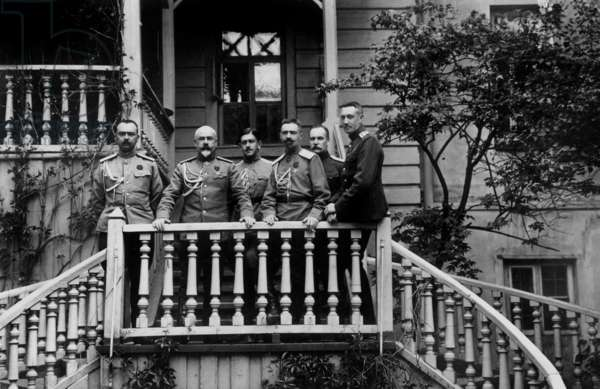 In Moghilev in may 1917, provisional government appoints russian general Anton Ivanovitch Denikine (2nd from l) Chief of Staff to Mikhail Alekseev