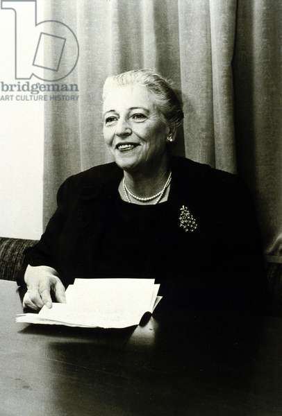 "Pearl Buck (1892-1973) american novelist here at Voice of America program ""Have you a question?""in 1970"