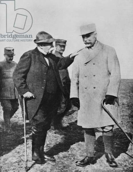 French president Georges Clemenceau visiting French general Philippe Petain on the front of the war, 118