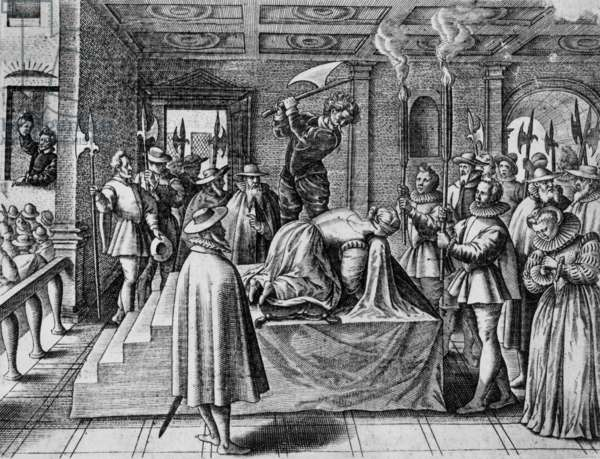 Execution Mary Stuart (1542-1587) queen of Scots : she's beheaded, engraving