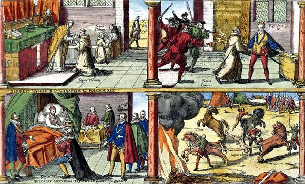 Murder of French king Henri III on august 1st, 1589 in St Cloud : top on l : monk Jacques Clement receiving Communion ; r : Jacques Clement stabbing to death French king Henri III ; bottom : l : Henri III giving power to king of Navarre who became Henri IV ; on r : torture of Jacques Clement , engraving